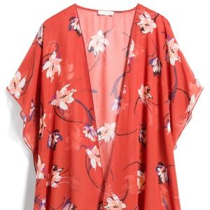EMORY PARK Caley Red Orange Floral Open Kimono